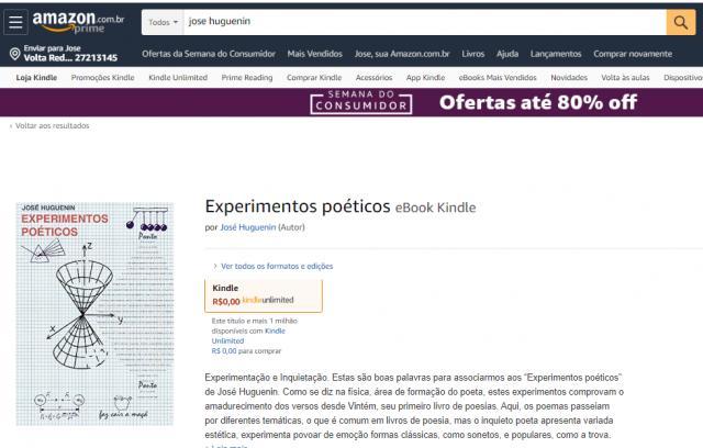 Experimentos poéticos, de 2015, está disponível na Amazon.com.br para dowload gratis no Kindle até 19/3 - jose huguenin